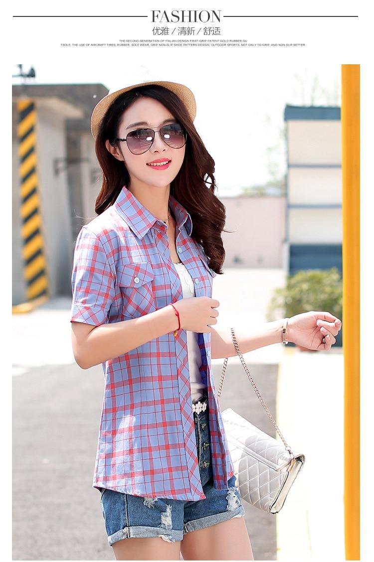 Brand New 2017 Lato Styl Plaid Drukuj Krótki Rękaw Koszule kobiety Plus Rozmiar Bluzki Na Co Dzień 100% Bawełna Topy Blusas 14 kolory 39