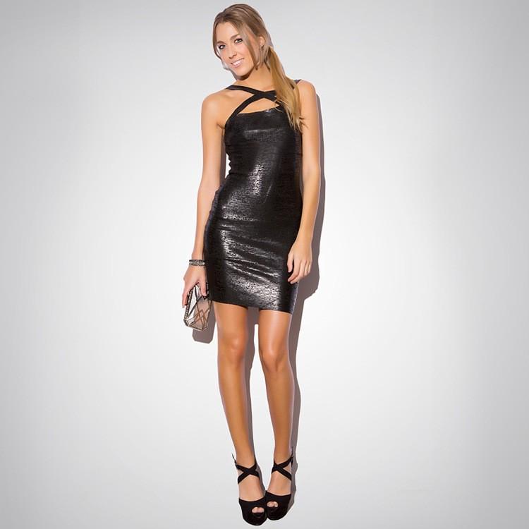Black Spaghetti Strap Backless Bandage Mini Dress 1
