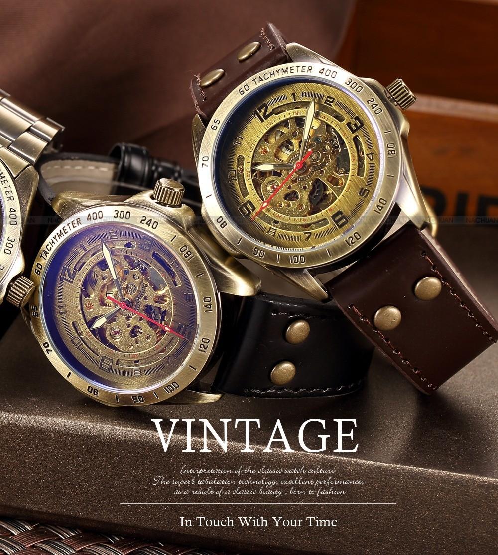 Luksusowe marki męska retro bronze steampunk szkielet automatyczne mechaniczne relogio skórzane sportowe męskie w stylu vintage casual wrist watch 1