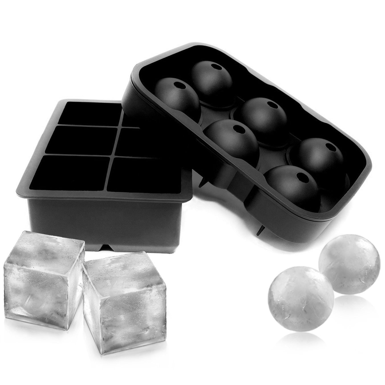 2PCS Frozen 6 Silicone Ice Ball 6 Square Ice Cube Trays Silicone Sphere Ice Mold Form Ball Maker Black TW-010 kitchen tools