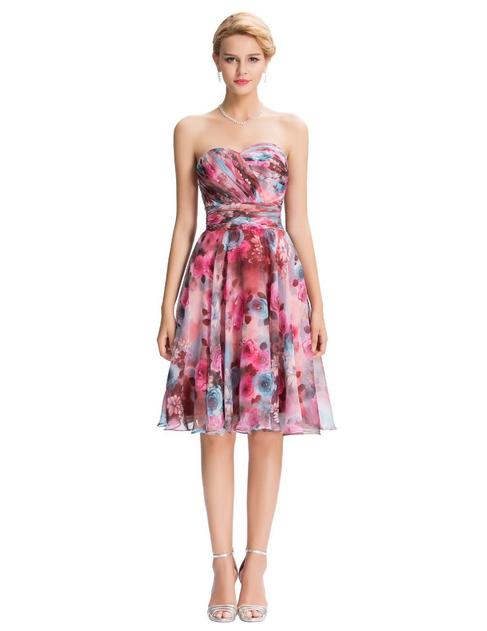 Chiffon Floral Print Short Wedding Bridesmaid Dress 2