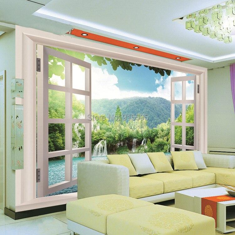 Niestandardowe 3d wodospady las zobacz okno 3d art mural mural tapety salon sypialnia przedpokój pokój dziecięcy fototapety 4
