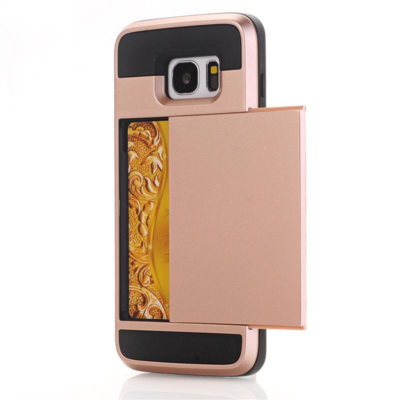 Zbroja slajdów credit card case do samsung galaxy s3 s4 s5 S6 S7 krawędzi Slot Portfel Shock Proof Skóry Twardego Plastiku + TPU Pokrywy Shell 14