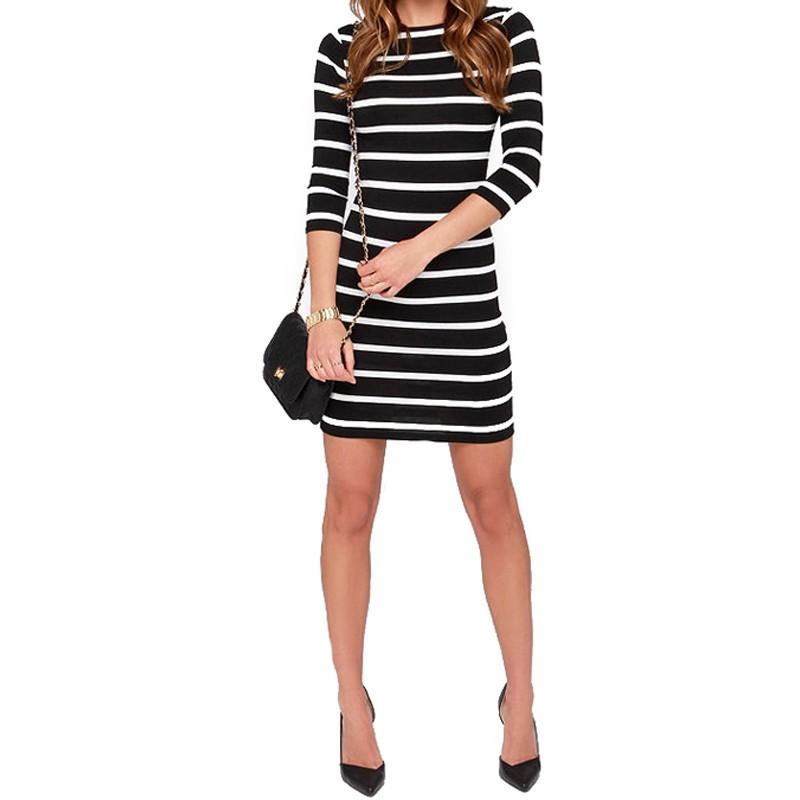 2016 Nowa Wiosna Lato Kobiety Wokół Szyi Mody Czarno-białe Paski Z Długim Rękawem Prosto Plus Rozmiar Casual Dress 9