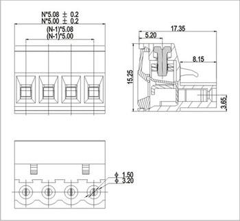 5 set Vertical PCB Terminal Blocks 5 08mm 12pin 300V 15A