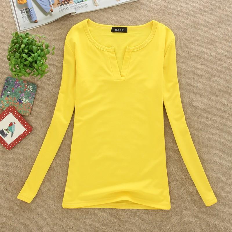 2017 stałe 14 kolory Dekolt Bluzki Sexy Szczupła Dzianiny Długi rękaw chemise femme koreański bluzki dla kobiet koszula clothing góry bluzka 17