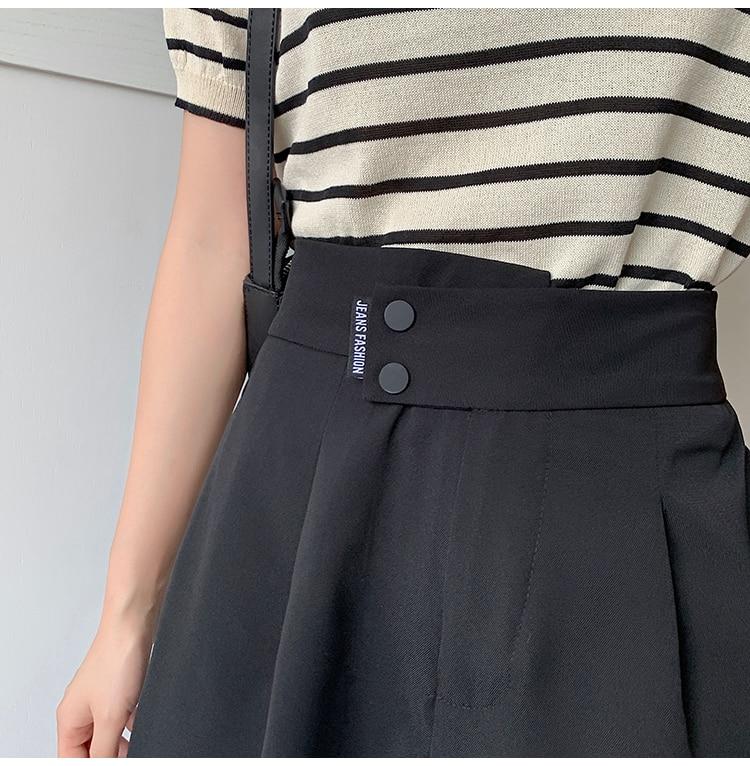 Ha053f09893874b2cad655e08f732f62bM - Summer Korean High Waist buttons Loose White Shorts