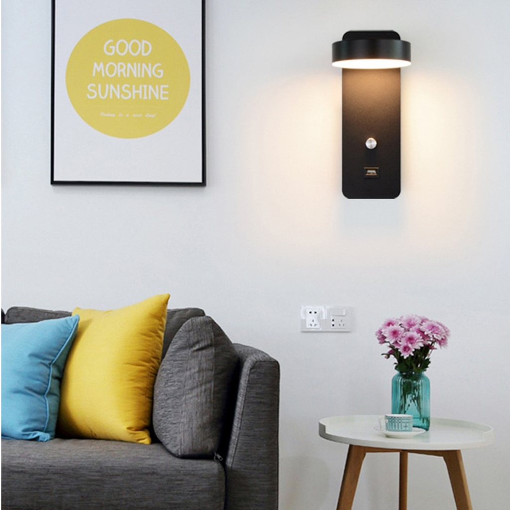 Simple Wall Lamps Dimming Light with USB Port Modern Livingroom Wall Sconce