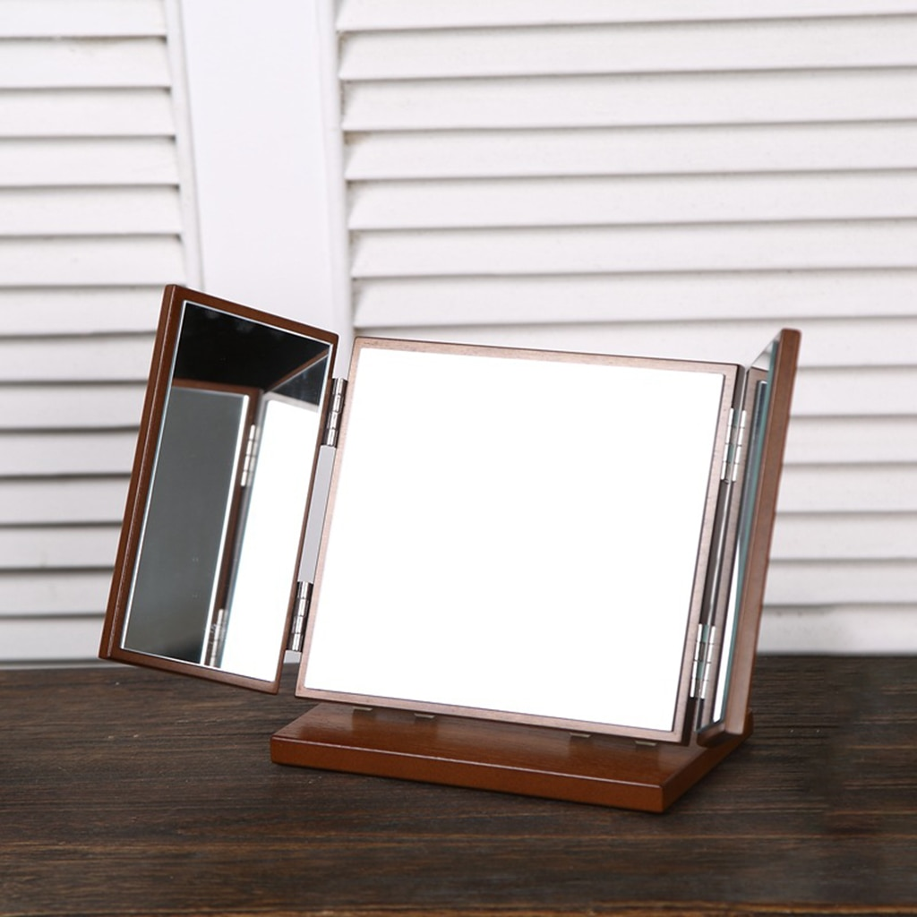 Antique Style Wood Cosmetic Mirror Panoramic Dressing Mirror Beauty Gifts