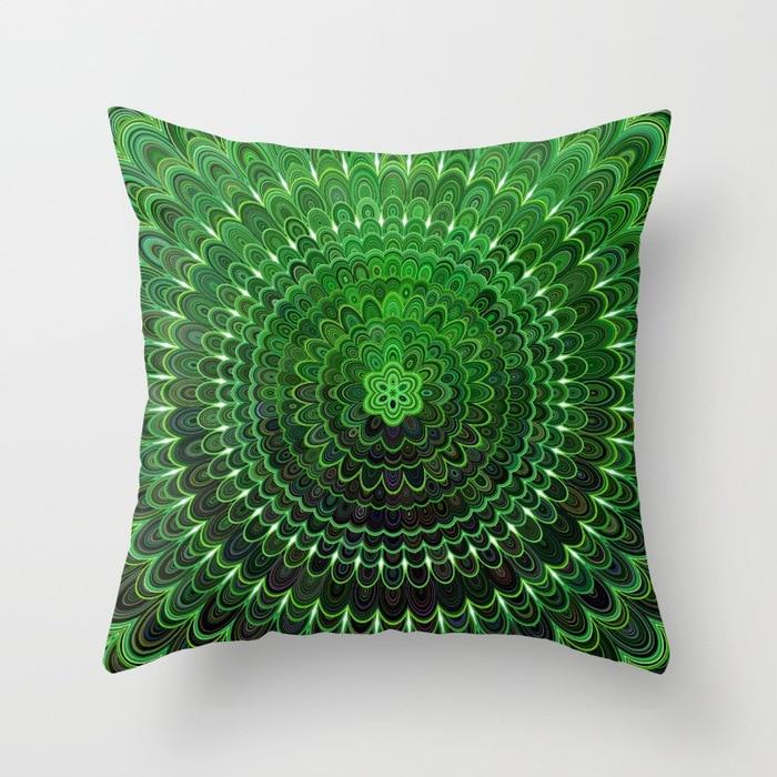 green-flower-mandala-pillows