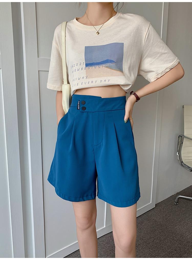 Hbce18f3da6474fc49df73669ef641da1S - Summer Korean High Waist buttons Loose White Shorts
