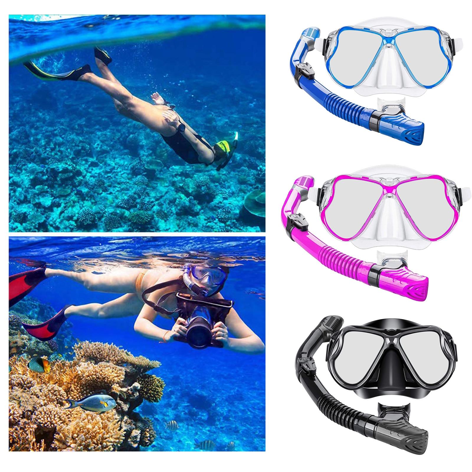 Dry Snorkel Gear Tube Scuba Snorkeling Spearfishing Package Dive Mask Set
