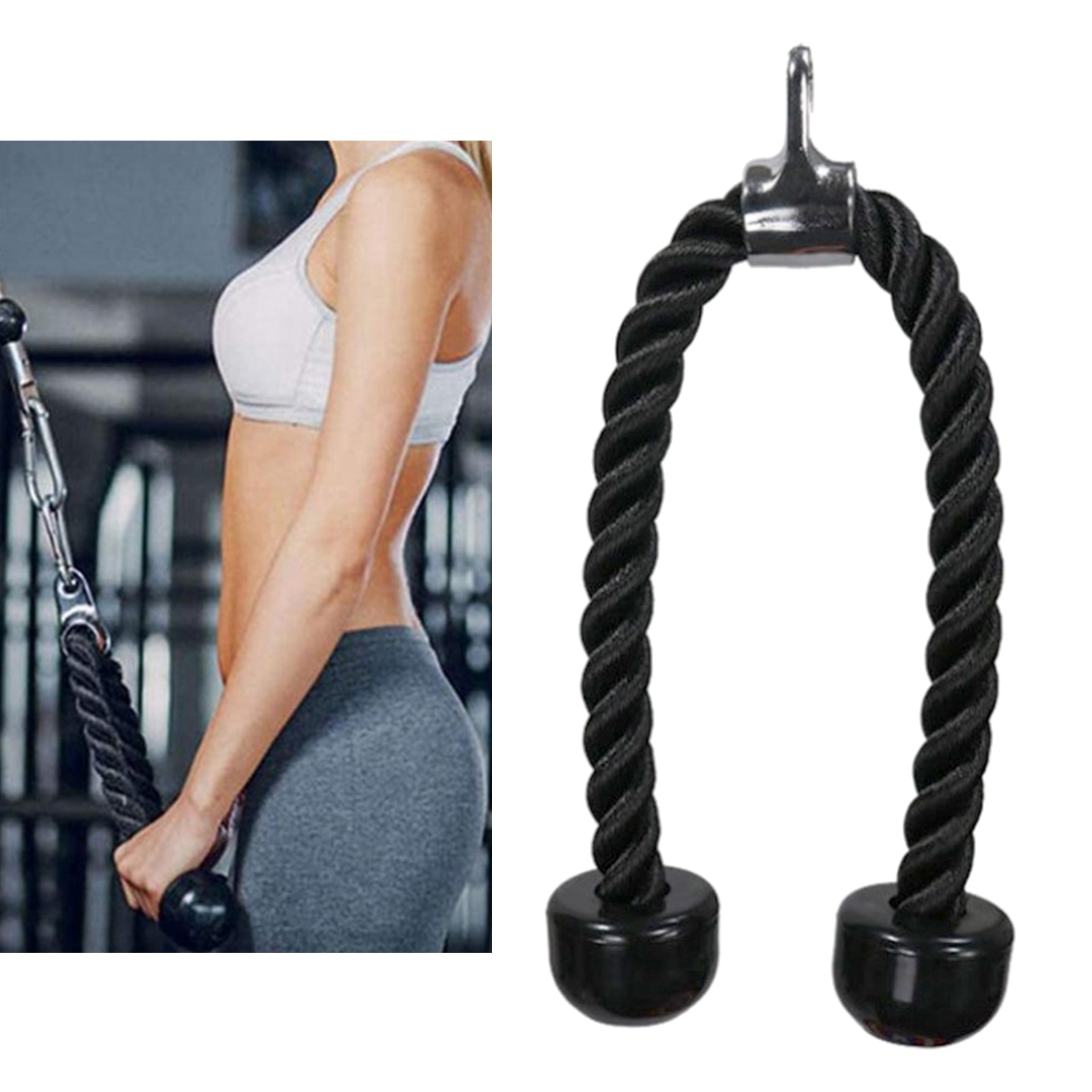 Triceps Rope Cable Machine Attachment Fitness Pulldown Pull Down Handle Comfort