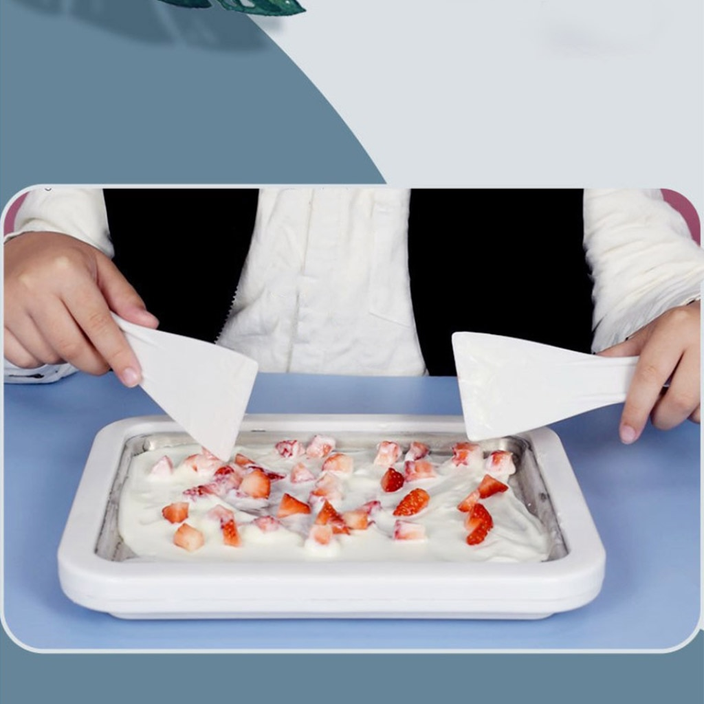 Ice Cream Maker Instant Ice Cream Rolled Pan with 2 Spatulas Fruit Sweet Spot Sorbet Frozen Yogurt Homemade Freezer for Kids