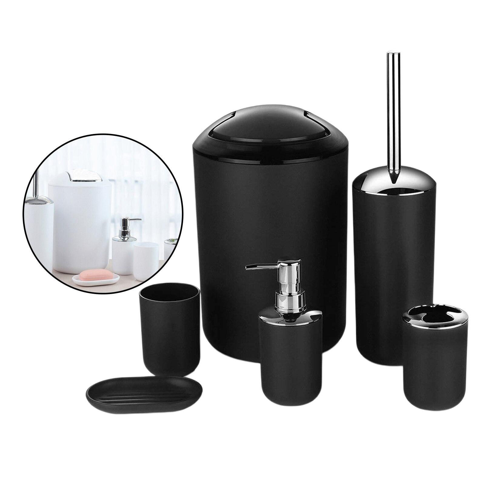 6Pcs Bathroom Set Toilet Brush Holder Toothbrush Cup Soap Dispenser Soap Dish Bathroom Accessories