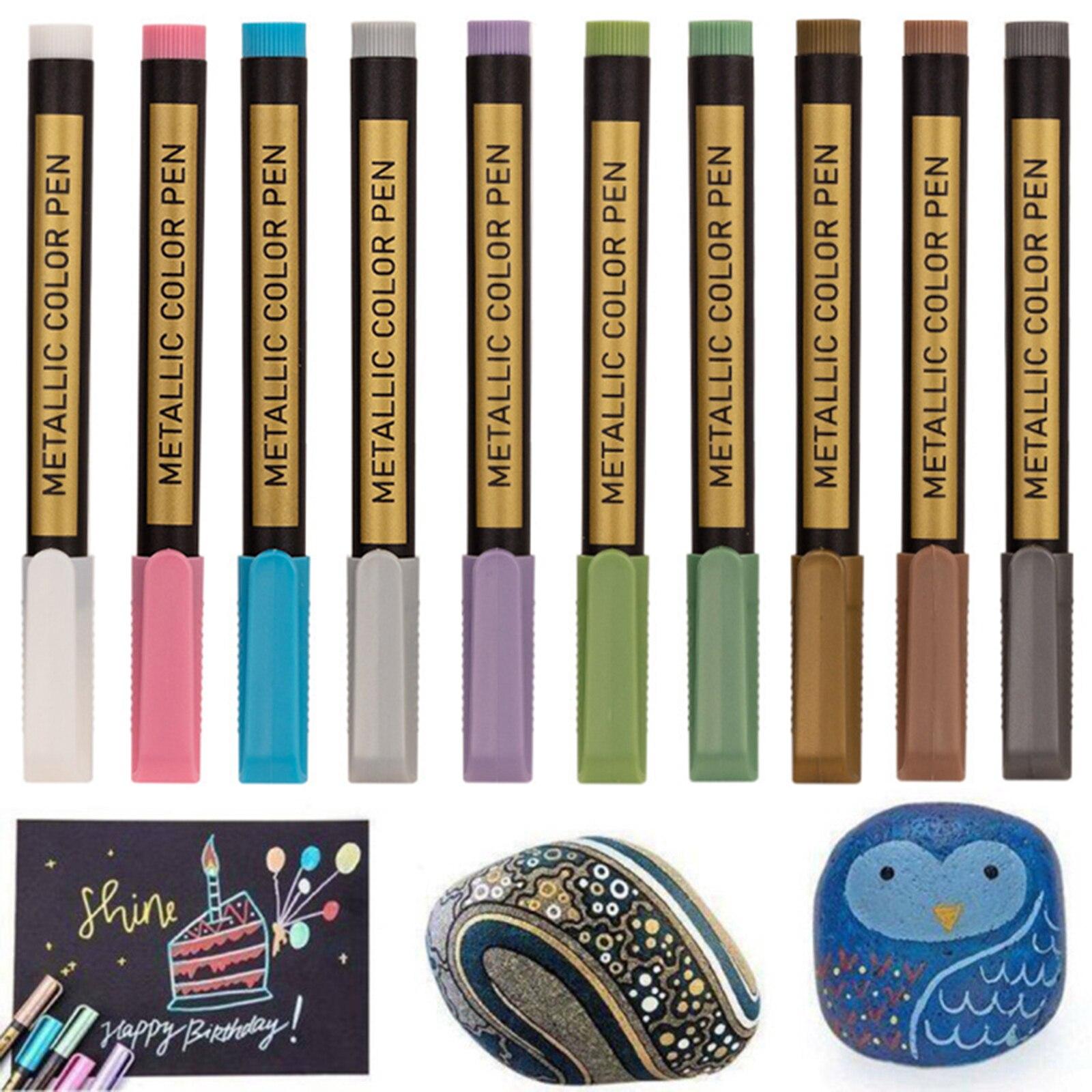 10x Metallic Marker Pens for Paper Card Making DIY Photo Album Marker Pen for Painting