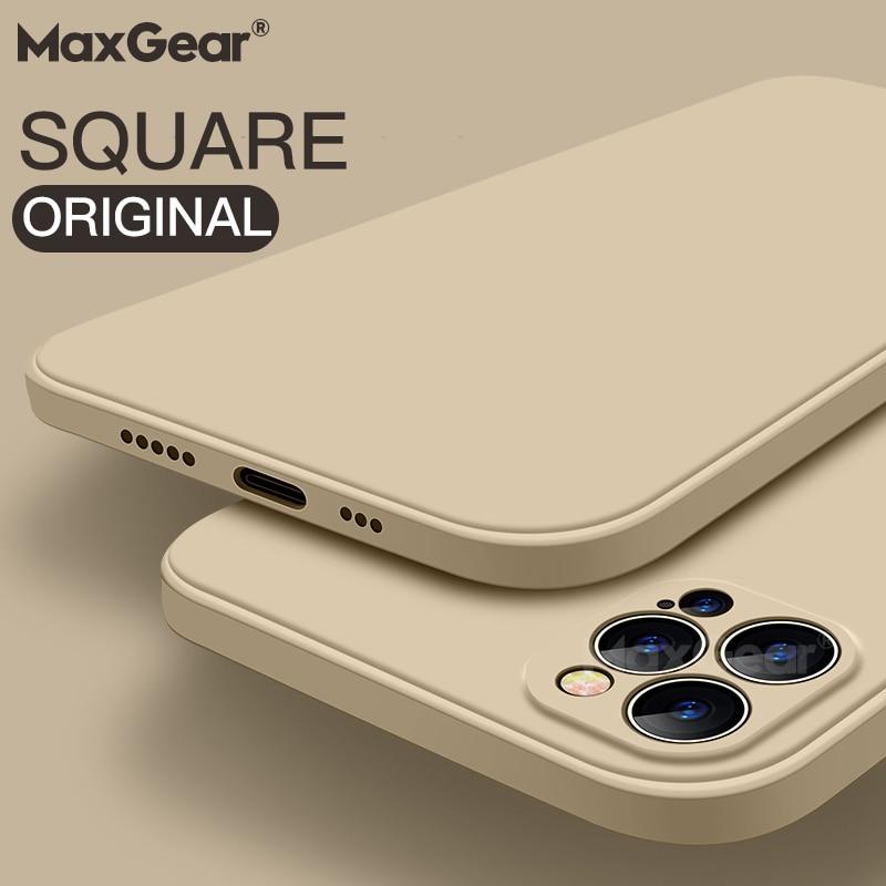 Luxury Original Square Liquid Silicone Case For iPhone 12 13 11 Pro Max Mini X XR XS Max 7 8 6s Plus SE 2 Shockproof Soft Cover