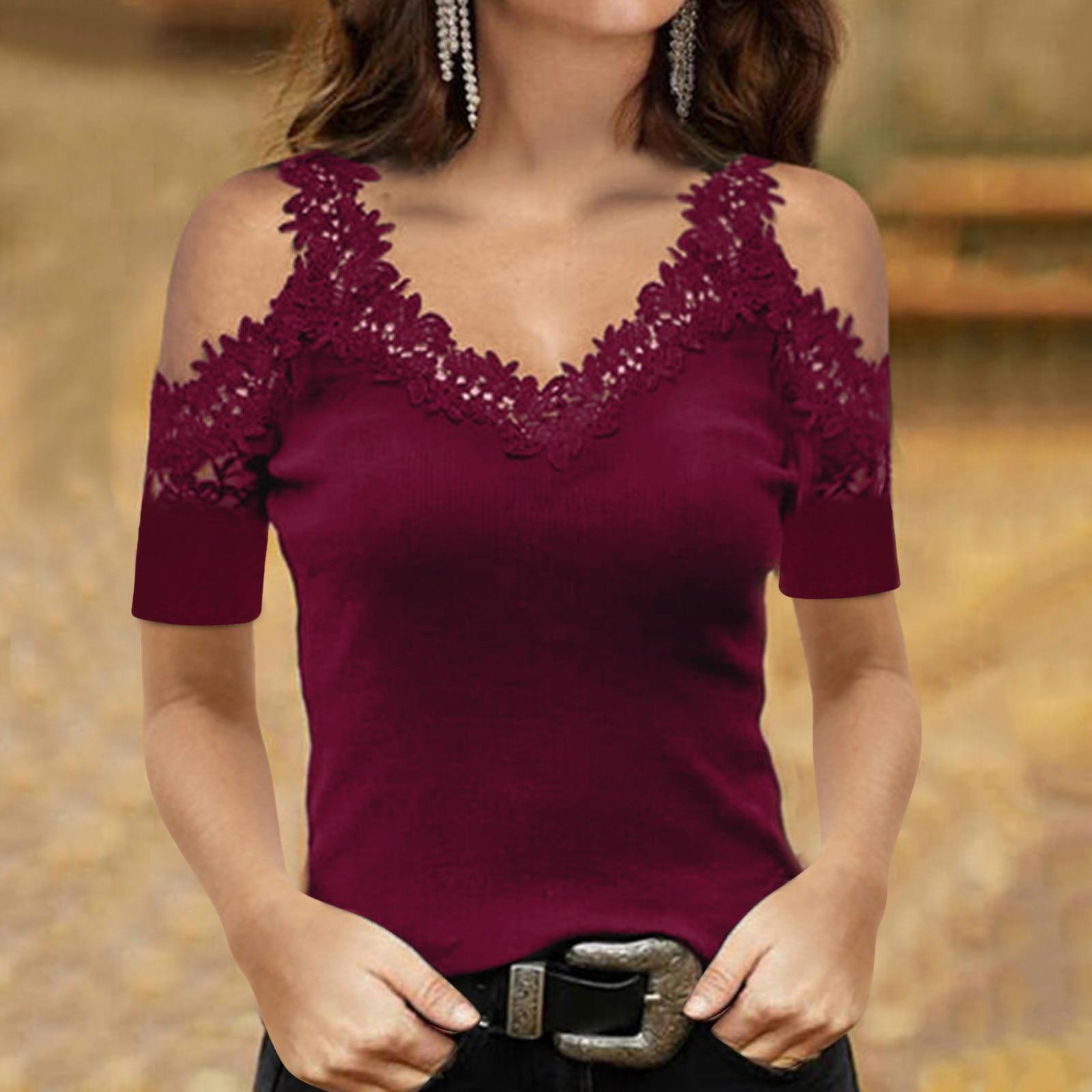 Fashion Off Shoulder Blouses Women Summer Lace Patchwork Shirts Casual Short Sleeved V-neck Pullover Tops bluzki damskie