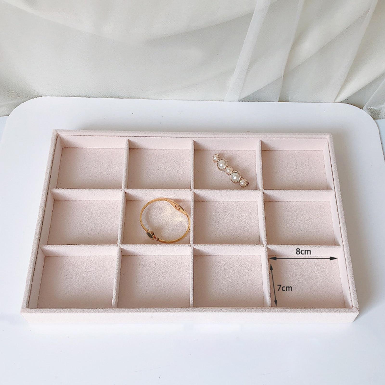 Velvet Jewelry Storage Tray Holder Box Case Watch Stud Show Case Organizer
