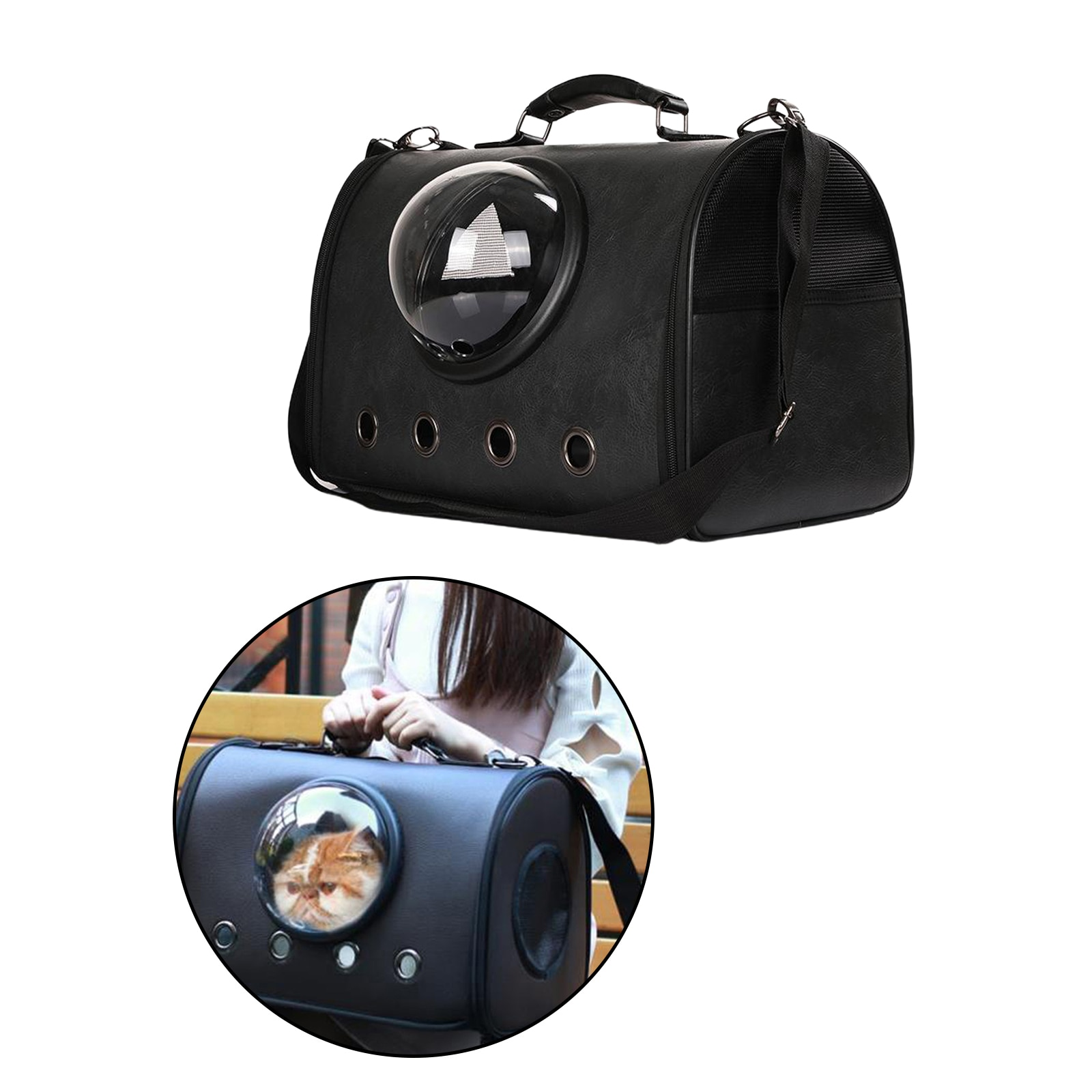 Small Dog Pet Carrier Backpack Heavy-duty PU Leather Tote Bag for Dog Cat