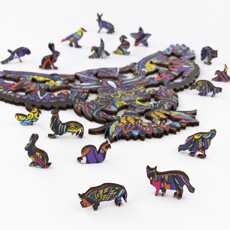 Quebra-cabeça colecionável de madeira q9qb, coruja voadora