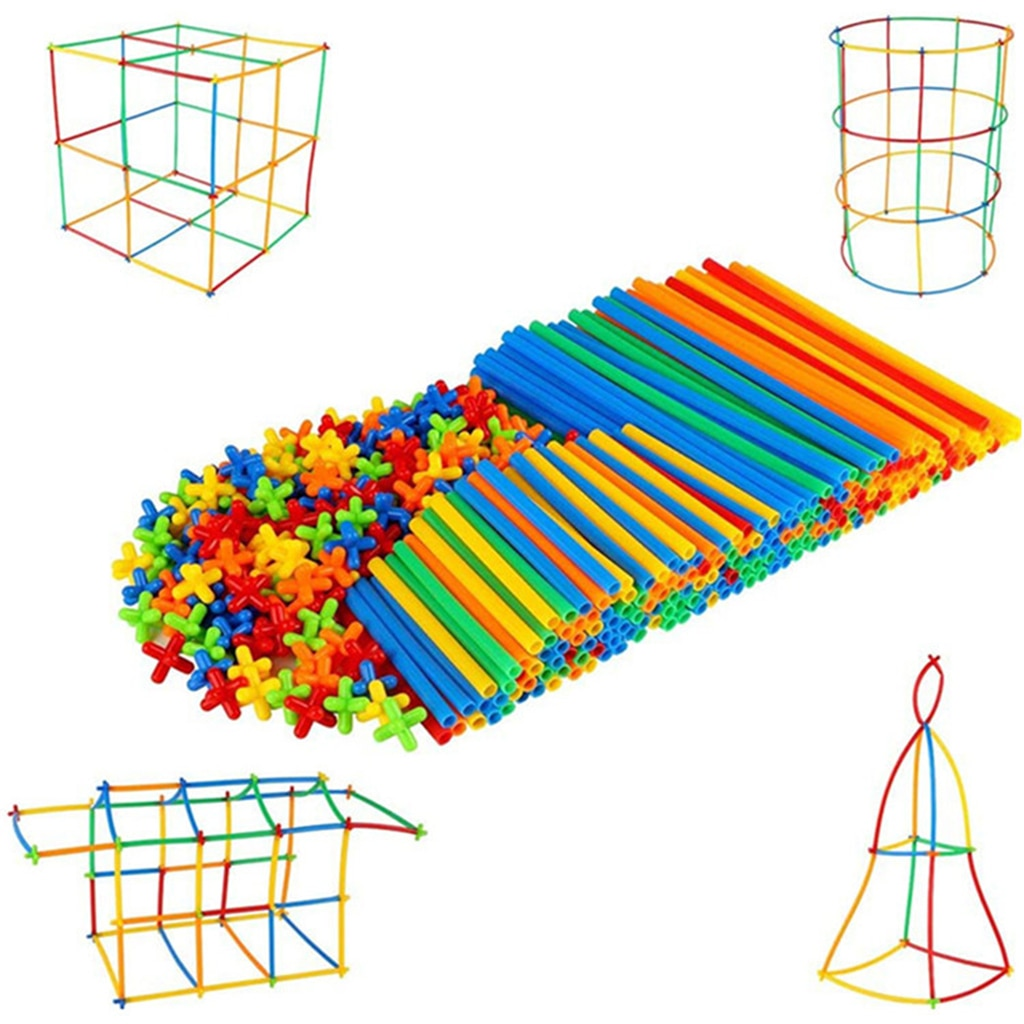 300pcs Pajitas y conectores Set Straw Constructor Stem Fort Building Toy