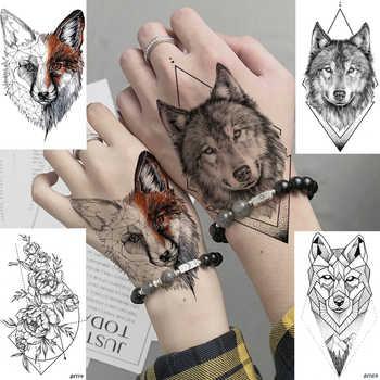 Diy Geometryczne Zwierząt Fox Roślin Tymczasowy Tatuaż Kobiety
