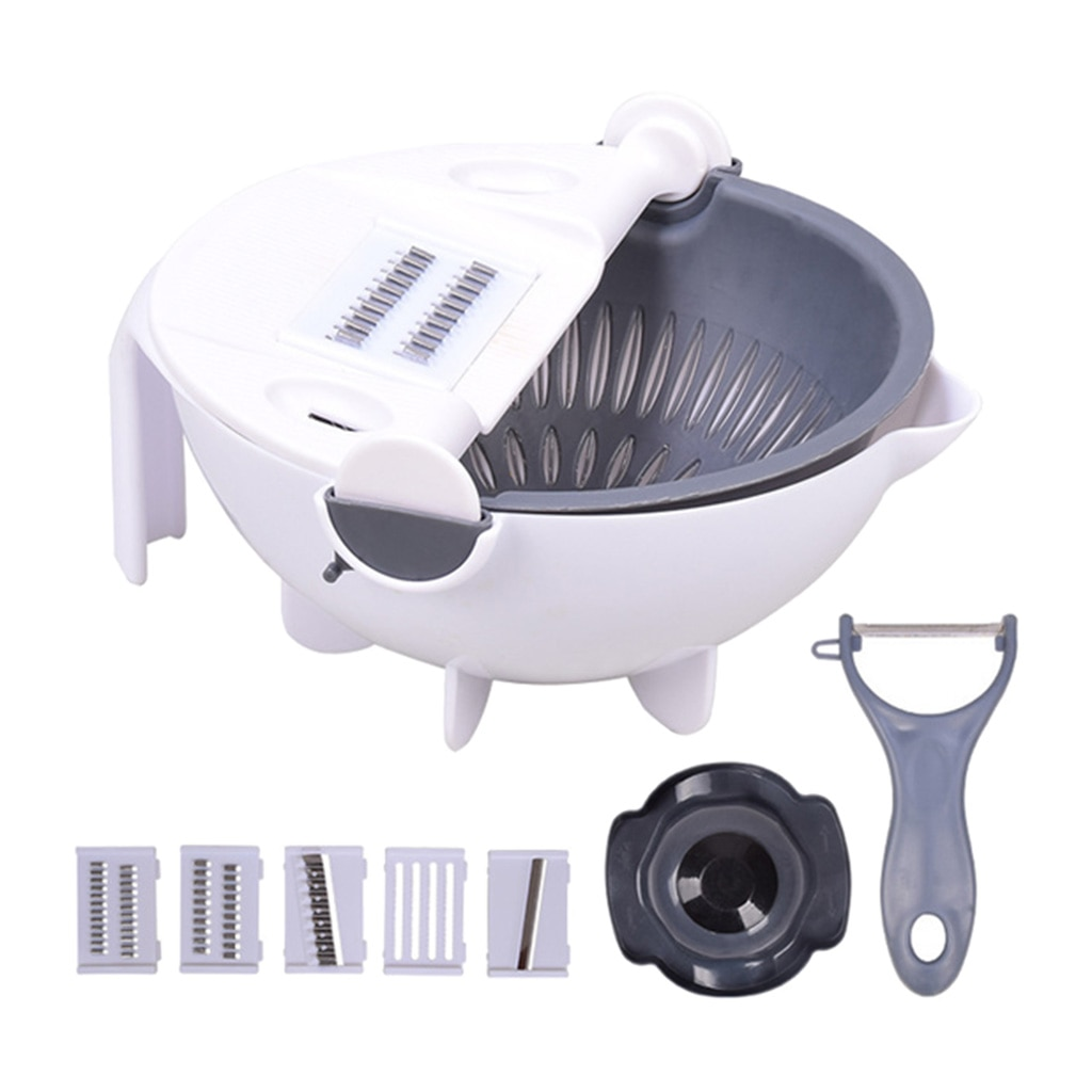 HOT Multi-function Rotate The Vegetable Cutter Slicer Creative Kitchen Tool Kitchen Hand Julienne Grater Fruit Storage Container