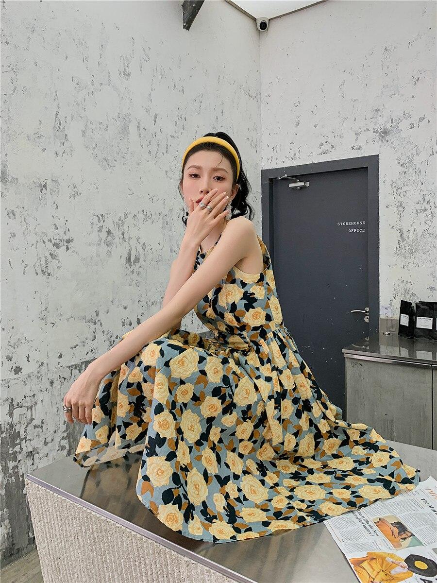 Hea534ac3b6cb43a9826cb1a1ba829759Y - Summer Korean Sleeveless Cotton Linen Open Back Floral Print A-Line Midi Dress