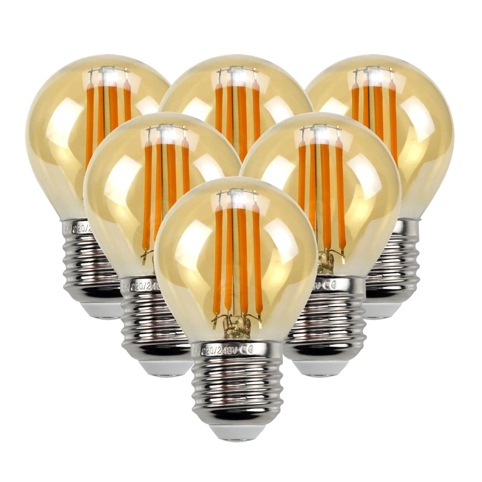 6 pçs edison lâmpadas branco quente 4w