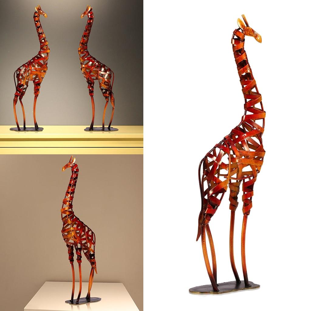 Giraffe Metal Sculpture Iron Giraffe Figurine Home Handmade Statue Home Office Desktop Decor Ornaments