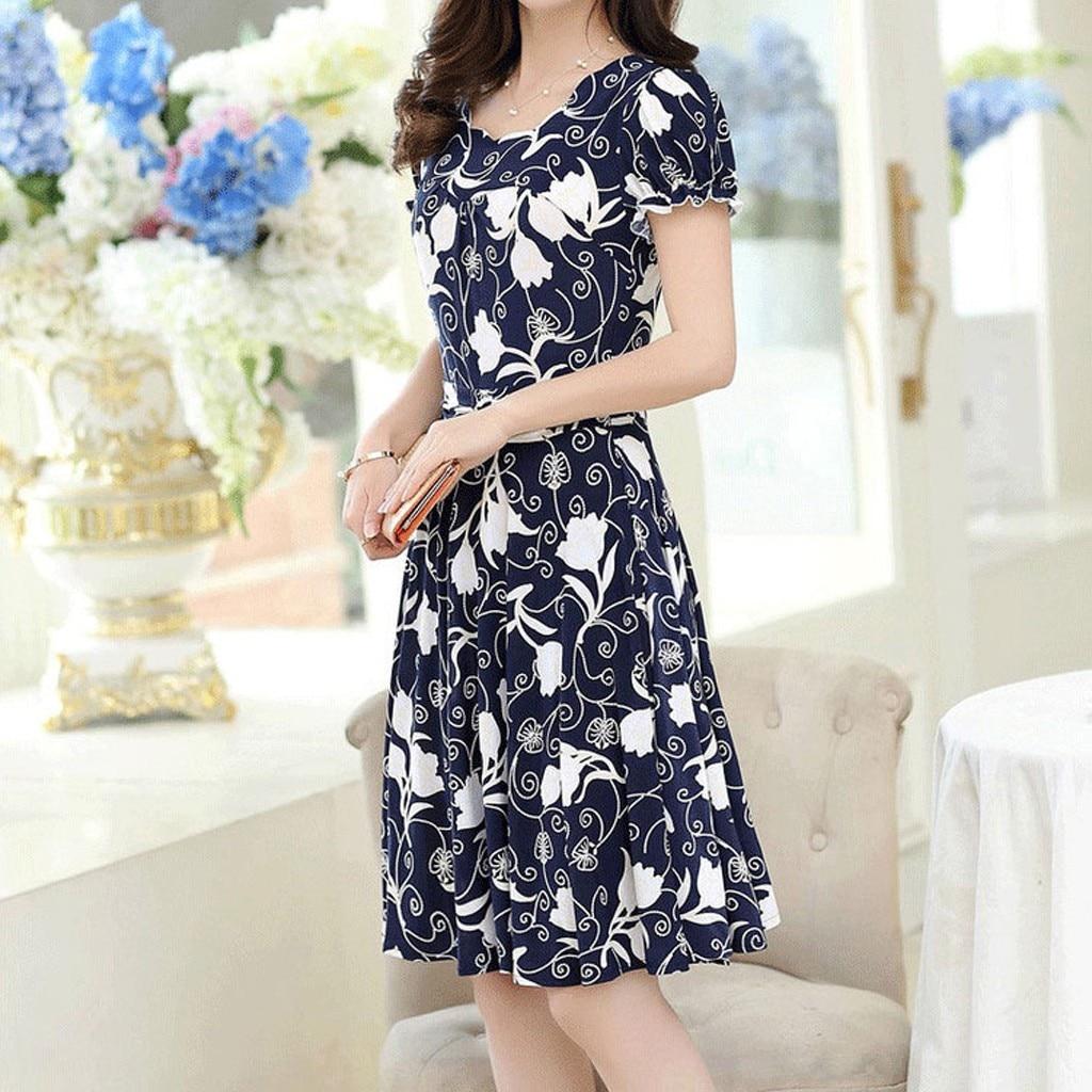 Fashion Dress Women Elegant O-neck Knee Length Office Casual Dresses Ladies Short Sleeve Retro Printing Dress Vestidos #P2