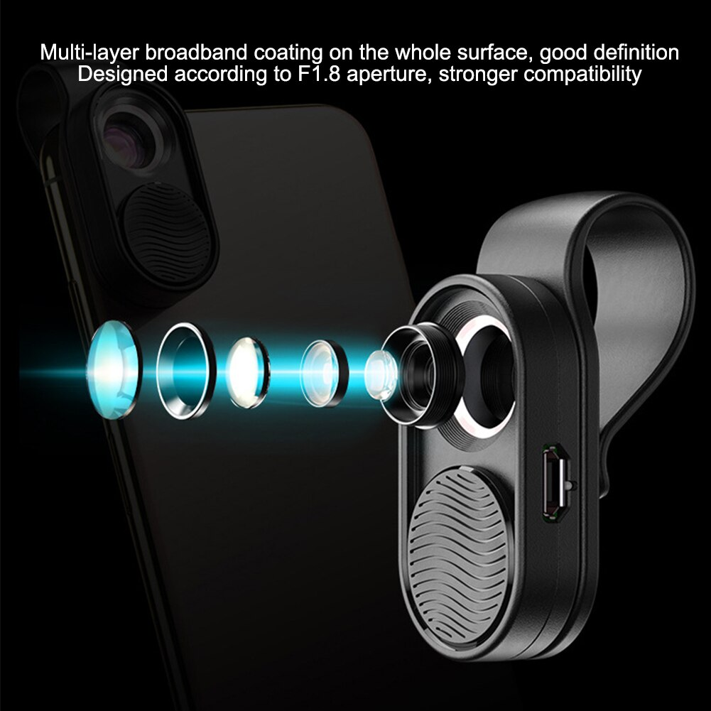 luz led mini portátil celular microscópio clipe