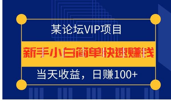 某论坛VIP项目:新手小白简单快速赚钱,当天收益,日赚100+