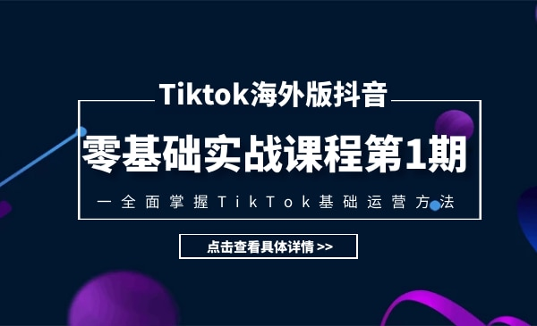 TIKTOK海外版抖音零基础实战课程第1期,全面掌握TIKTOK基础运营方法