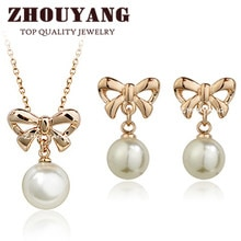 ZHOUYANG Top Quality ZYS258 Bowknot Peal Rose Gold Color Jewelry Necklace Earring Set Rhinestone Made with Austrian Crystals(China)